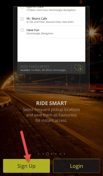 OLA Cabs ke app ko open karke sign up kare