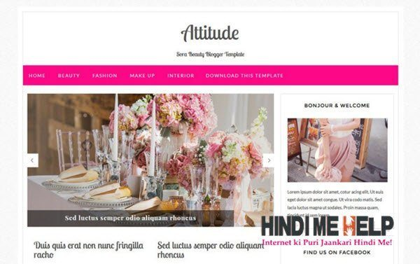 Attitude Responsive Blogger Template hindi me help