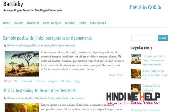 Bartleby Responsive Blogger Template hindi me help