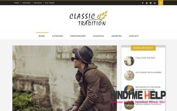Classic Tradition Travel Blogger Template hindi me help
