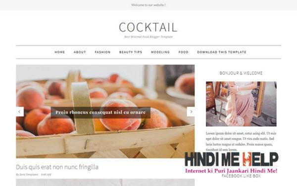 CockTail Responsive Blogger Template hindi me help