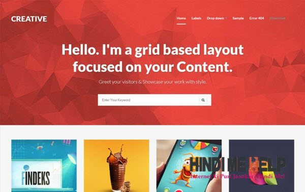 Creative – Clean & Responsive Blogger Template hindi me help