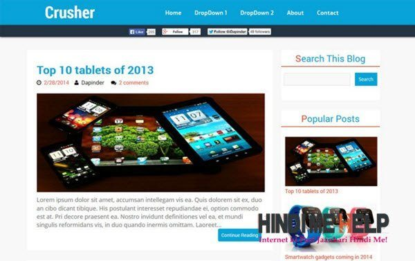Crusher Responsive Blogger Template hindi me help