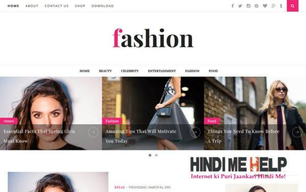 Fashion Clean & Responsive Blogger Template hindi me help