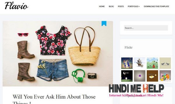 Flavio Simple Responsive Blogger Template hindi me help