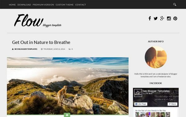 Flow Responsive Blogger Template hindi me help