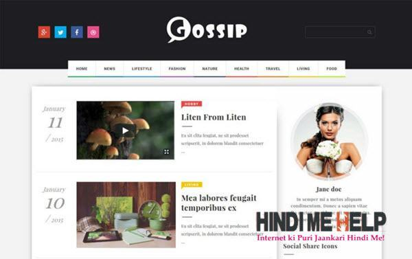 Gossip Creative Magazine Blogger Template hindi me help