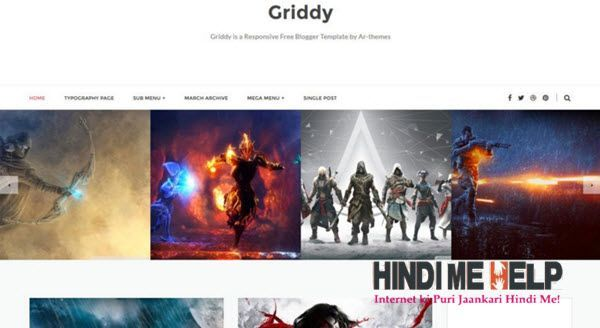 Griddy Responsive Blogger Template hindi me help