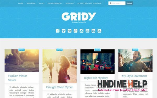 Gridy Responsive Blogger Template hindi me helkp