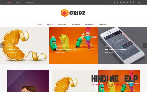Gridz Responsive Blogger Template hindi me help