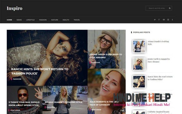 Inspiro Multipurpose Blogger Template hindi me help