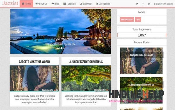 Jazzist Responsive Blogger Template hindi me help
