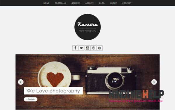 Kamera Photography Blog Template hindi me help