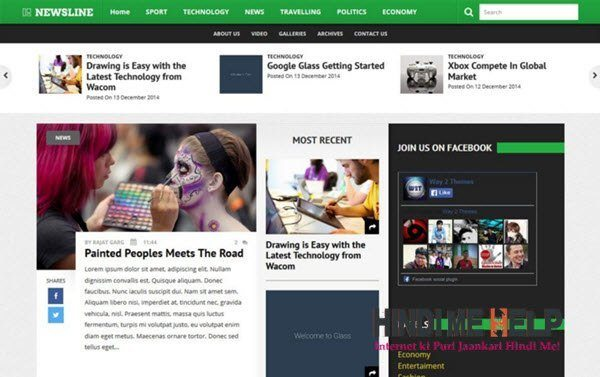 Newsline Responsive Blogger Template hindi me help