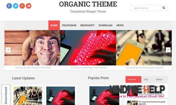 Organic Responsive Blogger Template hindi me help