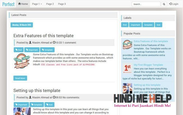 Perfect Responsive Blogger Template hindi me help