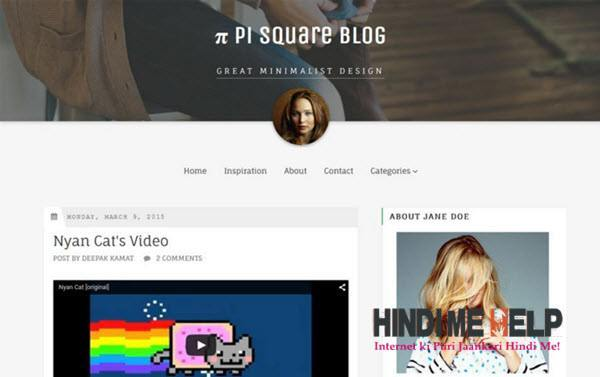PiSquare Minimalist Blogger Template hindi me helkp