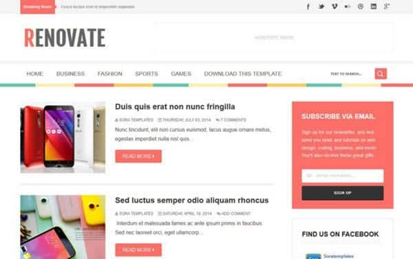 Renovate Responsive Blogger Template hindi me help