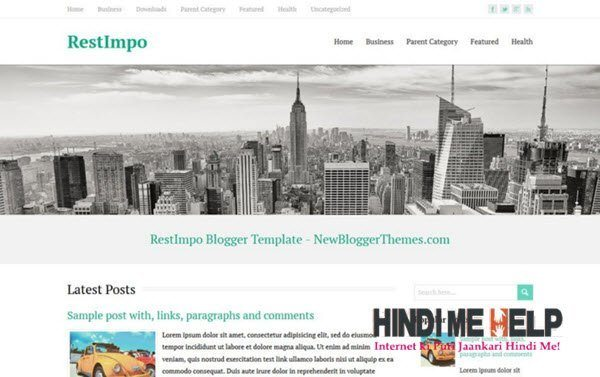 RestImpo Responsive Blogger Template hindi me help