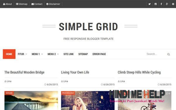 Simple Grid Responsive Blogger Template hindi me help