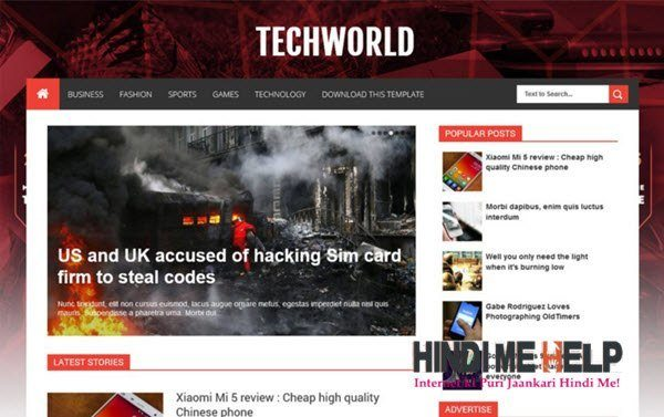 TechWorld Responsive Blogger Template hindi me help