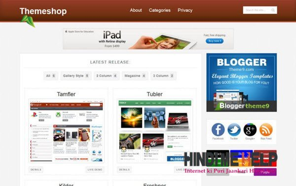 ThemeShop Blogger Template hindi me help