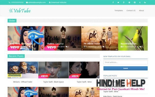 Vebtube Responsive Video Blogger Template hindi me help