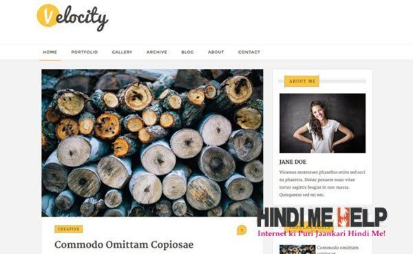 Velocity Magazine Blogger Template hindi me help
