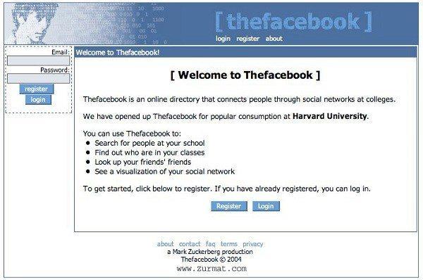 Facebook ka login page- 2004