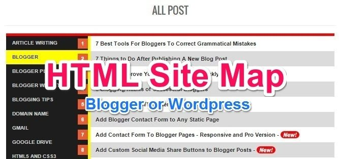 html sitemap page kaise banaye blogger or wordpress me hindi me help