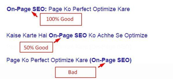 On Page Title optmize