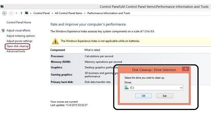 Open Disk Cleanup par click kare fir ek popup open hoga