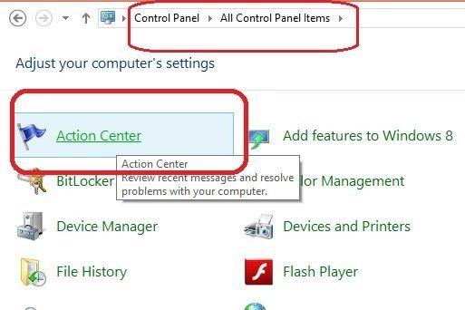 control pannel me jane ke baad action center par click kare.jpg