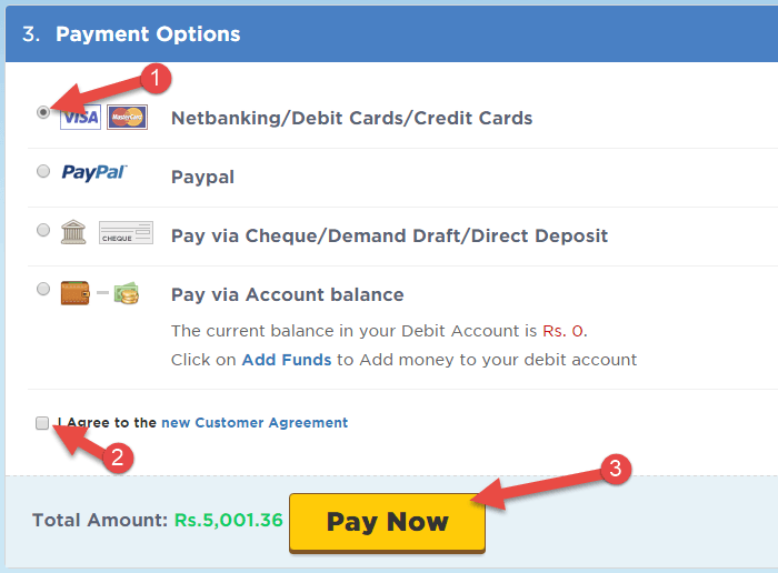 payment method select karke pay now ki button par click kare
