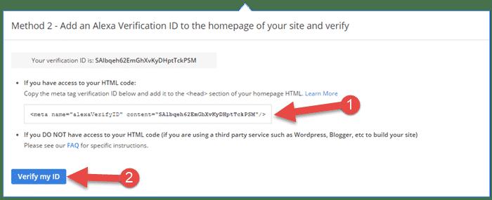 alexa ka code copy kare fir apni home page me daal kar veirfy kare