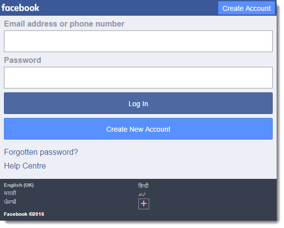 fb login mobile version