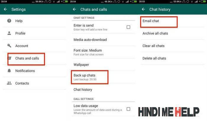 Whatsapp message ka backup le kar email par send karne ka tarika