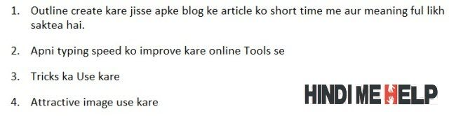 post ke liye outline banaye or uske mutabik post likhe