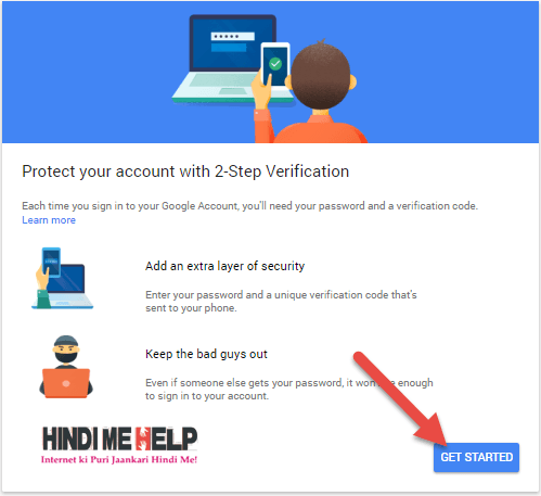 2 step verification chalu karne ke liye get started par click kare