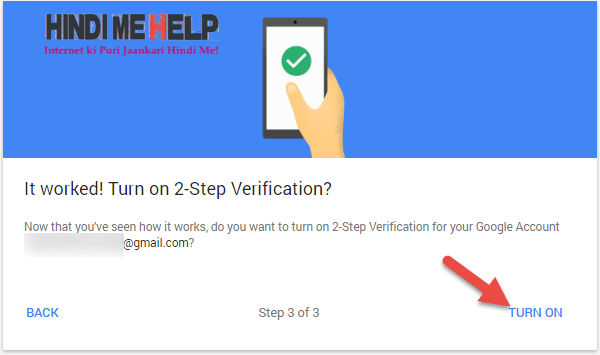 turn on kare 2 step verification gmail account me
