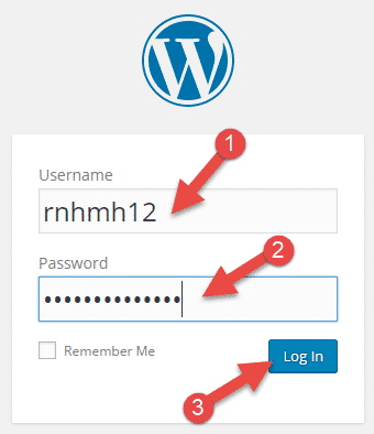 wordpress site me login karne ke liye username or uska password dale