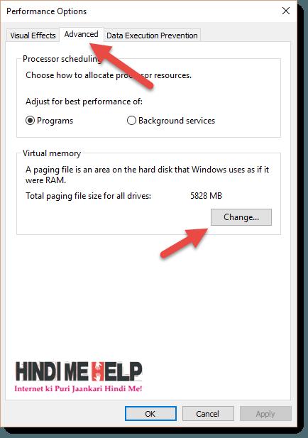 RAM ki memory change karne ke liye CHange ki button par click kare