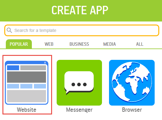Mobile app ke liye template select kare, website select kare