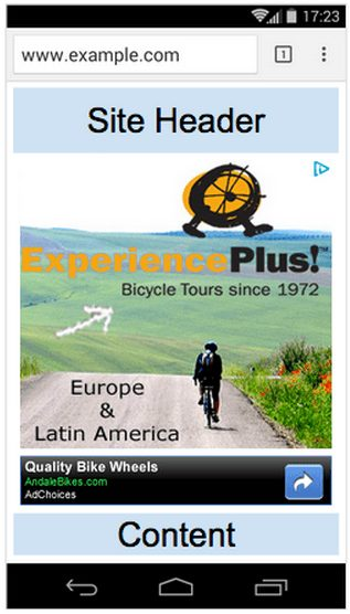 mobile site me ads upar nahi laga sakte