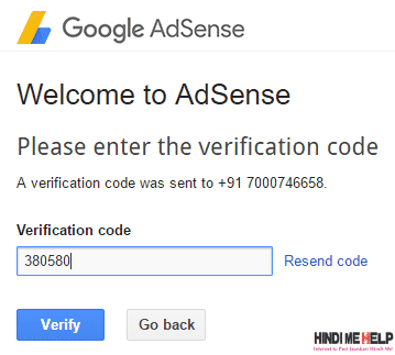 verification code dale adsense account me