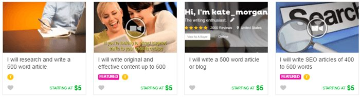 Writing Articles or Blog Posts in fiverr