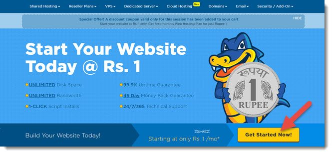 1 rupee hosting offer hostgator info hindi me help